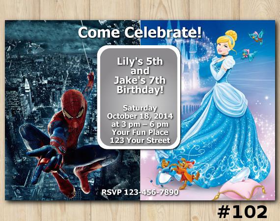 Twin Disney Princess and Spiderman Invitation | Personalized Digital Card