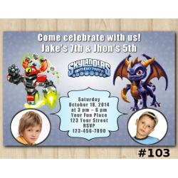 Twin Skylanders Invitation with Photo | MagnaCgarge, Spyro
