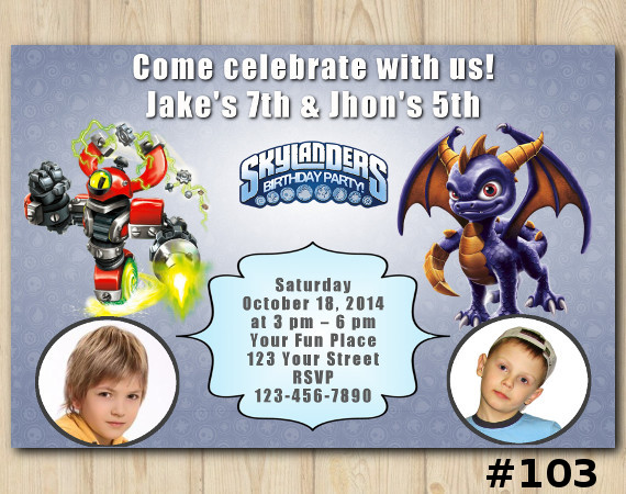 Twin Skylanders Invitation with Photo | MagnaCgarge, Spyro | Personalized Digital Card