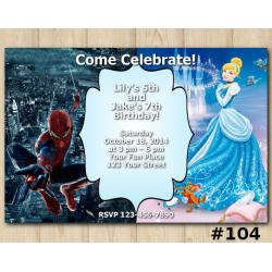 Twin Disney Princess Cinderella and Spiderman Invitation