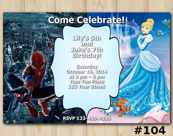 Twin Disney Princess Cinderella and Spiderman Invitation | Personalized Digital Card