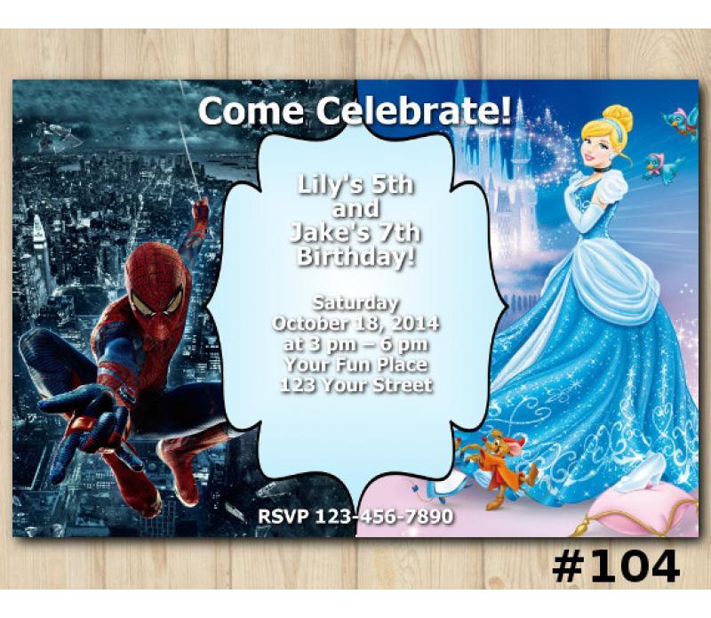 Twin spiderman and cinderella birthday invitation template twin disney princess cinderella and spiderman invitation personalized digital card filmwisefo