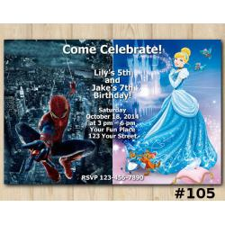 Twin Disney Princess and Spiderman Invitation