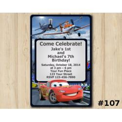 Twin Disney Planes and Disney Cars Invitation