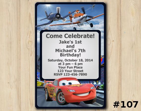 Twin Disney Planes And Cars Invitation