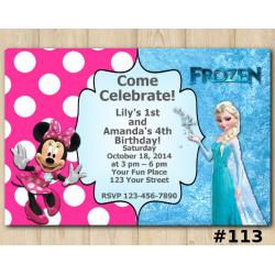 Twin Frozen and Minnie Mouse Invitation