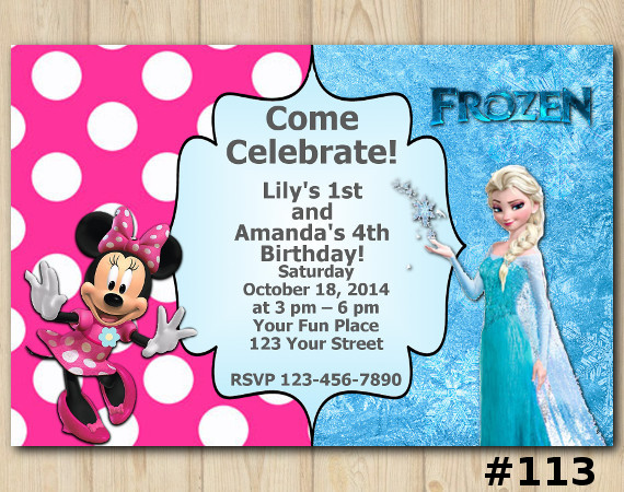 Twin Frozen and Minnie Mouse Invitation   Personalized Digital Card