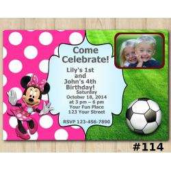 Twin Futball and Minnie Mouse Invitation with Photo