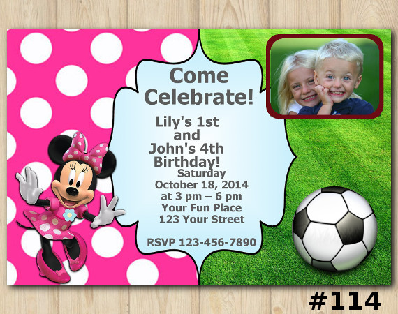 Twin Futball and Minnie Mouse Invitation with Photo | Personalized Digital Card