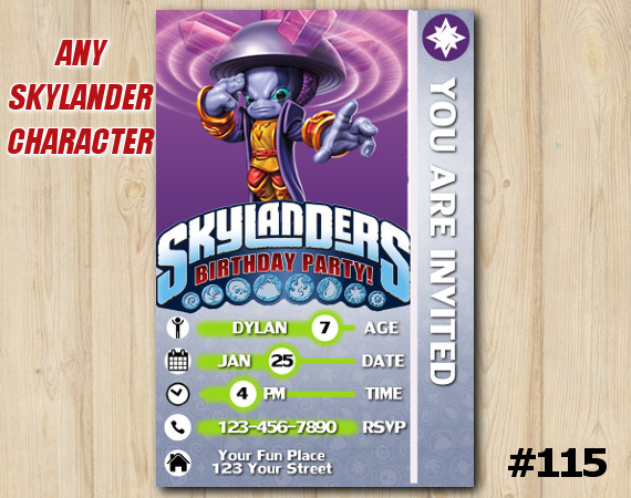 Skylanders Blastermind Game Card Invitation   Blastermind   Personalized Digital Card