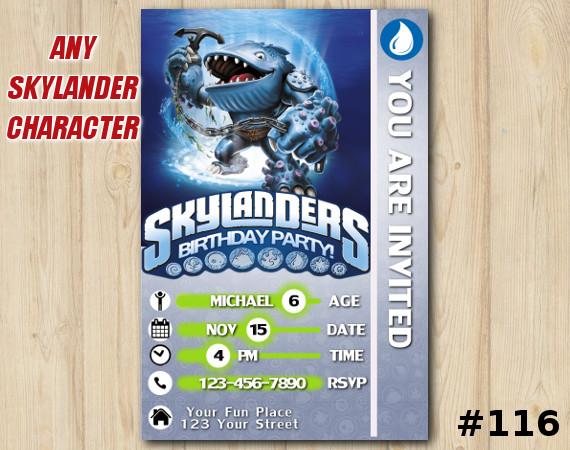 Skylanders Swap Force Game Card Invitation   Thumpback   Personalized Digital Card