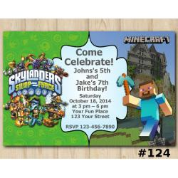 Twin Skylanders and Minecraft Invitation