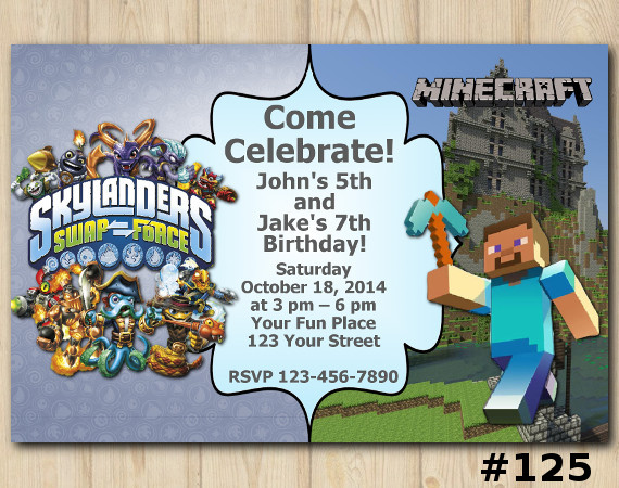 Twin Skylanders and Minecraft Invitation | Personalized Digital Card