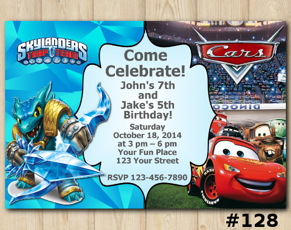 Twin Skylanders and Disney Cars Invitation | Snapshot | Personalized Digital Card
