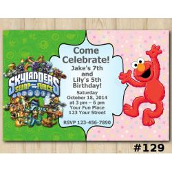Twin Elmo and Skylanders Invitation