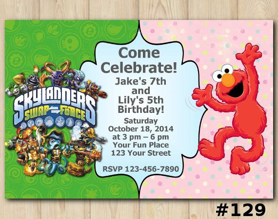 Twin Elmo and Skylanders Invitation | Personalized Digital Card