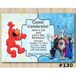 Twin Elmo and Frozen Invitation