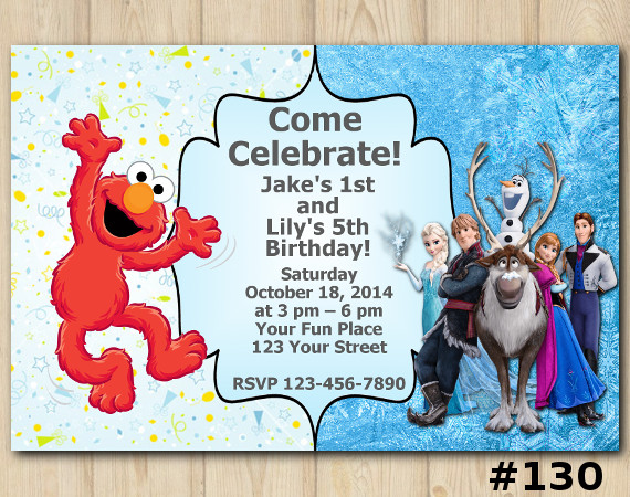 Twin Elmo and Frozen Invitation | Personalized Digital Card