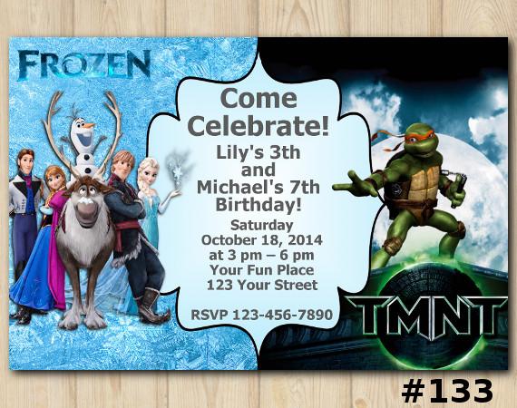 Twin Frozen And TMNT Invitation