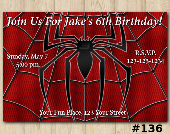 Spiderman custom birthday invitation spiderman invitation template spiderman invitation personalized digital card stopboris Choice Image
