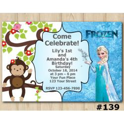 Twin Frozen and Baby Monkey Invitation