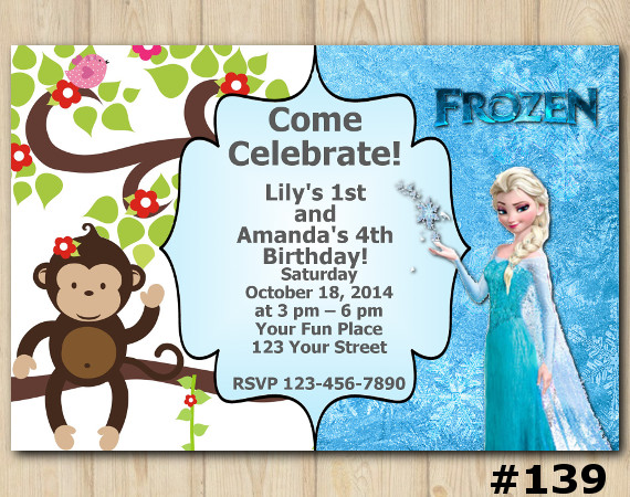 Twin Frozen and Baby Monkey Invitation | Personalized Digital Card