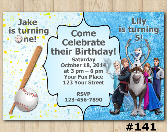 Twin Baseball and Frozen Invitation | Personalized Digital Card