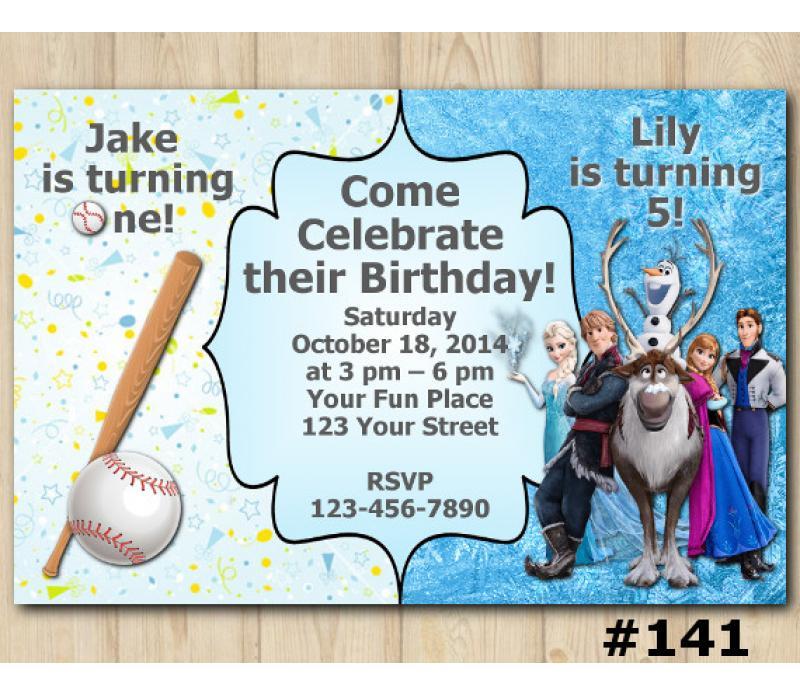 Twin Baseball And Frozen Invitation