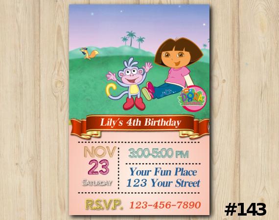 Dora the Explorer Invitation   Personalized Digital Card