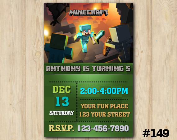 Minecraft Invitation   Personalized Digital Card