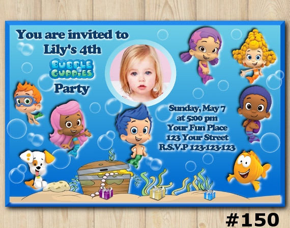 Bubble Guppies Invitation with Photo   Personalized Digital Card