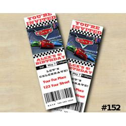 Disney Cars Ticket Invitation