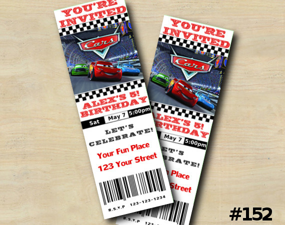 Disney Cars Ticket Invitation | Personalized Digital Card