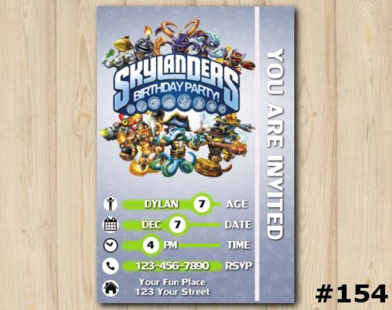 Skylanders Swap Force Game Card Invitation   Personalized Digital Card