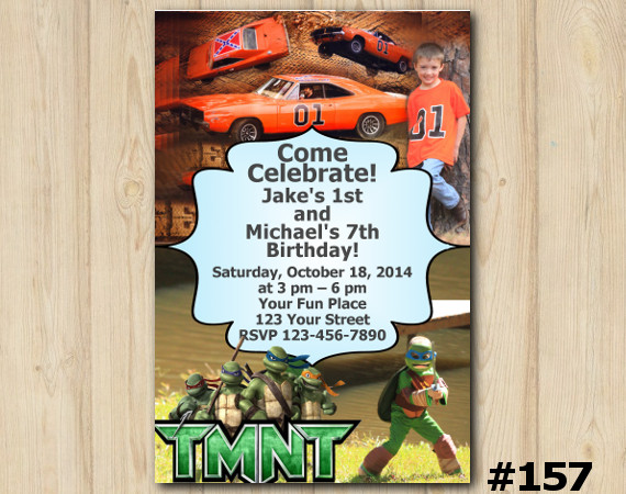 Twin TMNT and Dukes of Hazzard Invitation with Photo   Personalized Digital Card