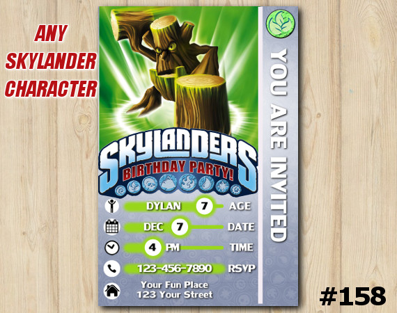 Skylanders Trap Team Game Card Invitation | StumpSmash | Personalized Digital Card