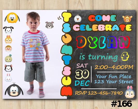 Tsum Tsum Invitation with Photo | Personalized Digital Card