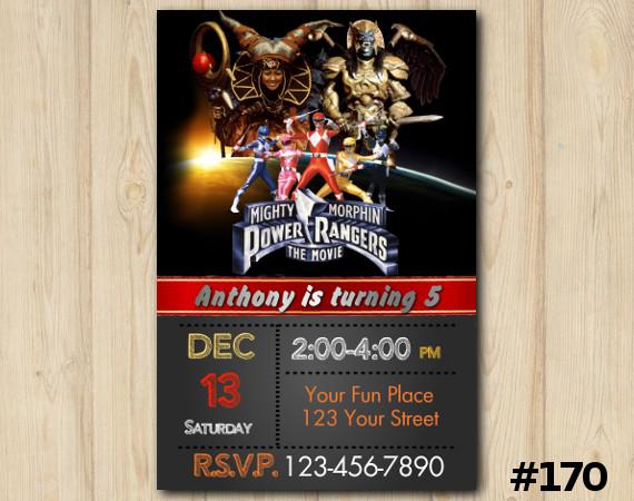 Power Ranger Invitation | Personalized Digital Card