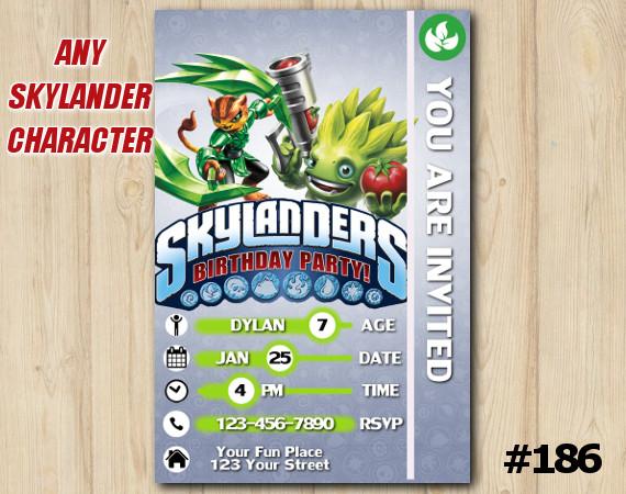 Skylanders Trap Team Game Card Invitation | TuffLuck, FoodFight | Personalized Digital Card