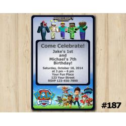 Twin Minecraft and Paw Patrol Invitation