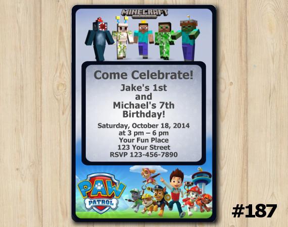 Twin Minecraft and Paw Patrol Invitation | Personalized Digital Card