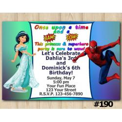 Twin Princess Jasmin and Spiderman Invitation