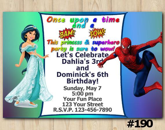 Twin Princess Jasmin and Spiderman Invitation   Personalized Digital Card
