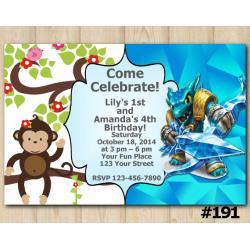 Twin Skylanders and Baby Monkey Invitation | Snapshot