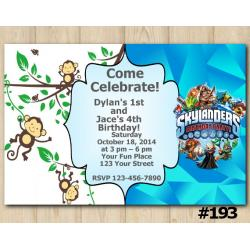 Twin Skylanders and Baby Monkey Invitation