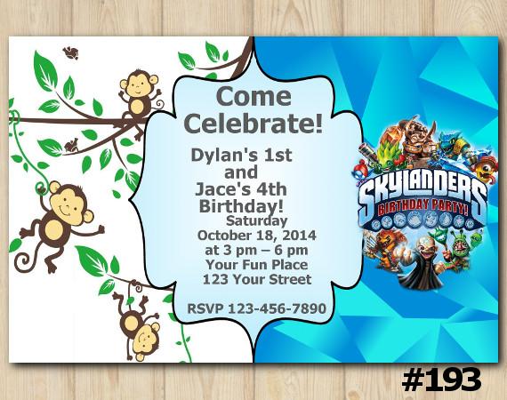Twin Skylanders and Baby Monkey Invitation | Personalized Digital Card