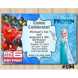 Twin Frozen and Big Hero Invitation