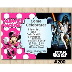 Twin Minnie Mouse and Star Wars Invitation
