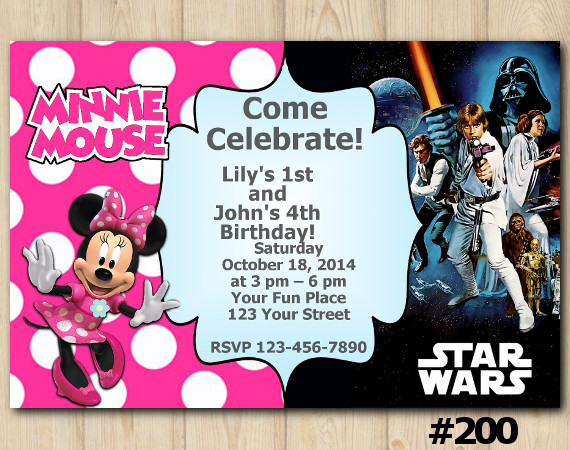 Twin Minnie Mouse and Star Wars Invitation | Personalized Digital Card