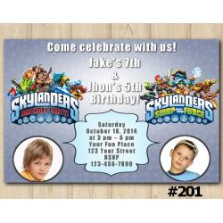 Twin Skylanders Invitation with Photo